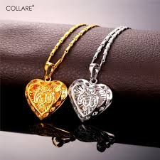 silver heart necklace wholesale images Collare allah heart necklaces pendants gold silver color jpg