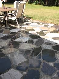 Interlocking Slate Patio Tiles by Random Mixed Blend Flagstone Look Granite Patio Wet Set In Mortar