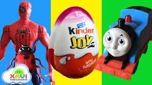 kinder joy surprise eggs toy train videos for children spiderman