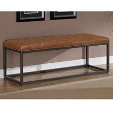 Leather Bench Ottoman by Healy Saddle Brown Bonded Leather And Metal Bench For Overstock