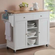 White Kitchen Island With Stainless Steel Top by Baxton Studio Meryland White Kitchen Cart With Storage 28862 5408