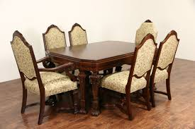 sold renaissance carved 1920 banded dining table without chairs