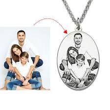 photo engraved necklace personalized sterling silver photo engraved necklace oval photo
