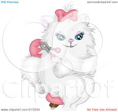 royalty free rf clipart illustration of a prissy white cat