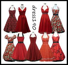 vintage cocktail party illustration dress190 red 50s rockabilly vintage pinup party prom cocktail