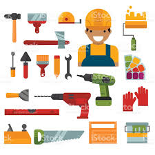 Building Home Repair And Decoration Works Tools Vector Stock - Home construction and decoration