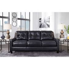 Navy Sleeper Sofa by Contemporary Leather Match Queen Sofa Sleeper By Signature Design