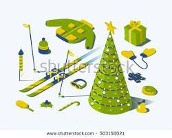 christmas vector isometric concept illustration 3d stock vector