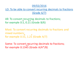 converting recurring decimals into fractions by jkarkin79