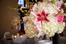 White Hydrangea Centerpiece by White Hydrangea And Pink Stargazer Centerpiece Wedding