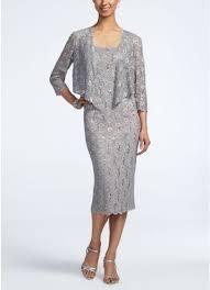 3 4 sleeve tea length lace jacket dress david u0027s bridal