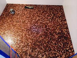 bathroom floor coverd with pennies