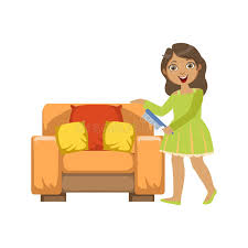 Cartoon Armchair Cleaning Dust Off Armchair With Brush Stock Vector Image