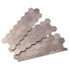 aspect honeycomb matted 4 in x 12 in metal decorative tile