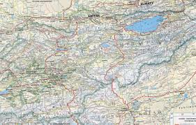 road map map geographic central asia kyrgyzstan khirgizstan road map