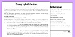 paragraph cohesion activity sheet alice in wonderland
