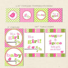 pink u0026 green bird printable baby shower decorations u2013 lil u0027 sprout