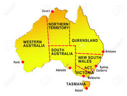 australia map of cities map of australia showing eight states and major cities isolated