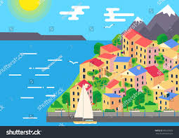 city coast beachfront ocean island houses stock vector 689269003 city at coast or beachfront ocean island with houses or hotels sea waves and yacht