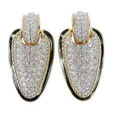 dangle clip on earrings daniel swarovski encrusted dangle clip on earrings for