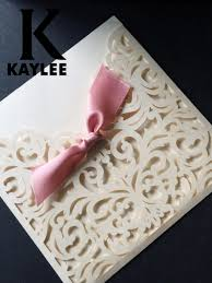 pocket wedding invitations 50pieces ivory color laser cut wedding invitation lace wedding