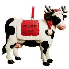 cow wearing santa hat blanket ornament personalized ornaments