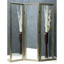 tri fold room divider exquisite 3 panel glass with golden polished wood frame connected