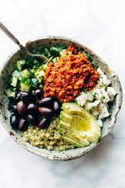 The Mediterranean Vegan Kitchen - mediterranean quinoa bowls with roasted red pepper sauce recipe