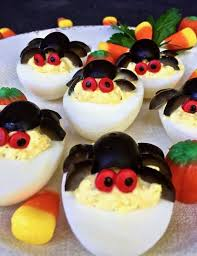 spooky spider deviled eggs grits and pinecones