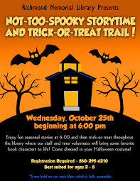 not too spooky storytime and trick or treat trail richmond