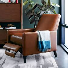 Reclining Leather Armchair Sedgwick Recliner Leather West Elm Uk