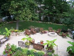 Country Backyard Landscaping Ideas by Great Natural Landscaping Design With Fire Pit Ideas Added Patio