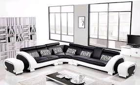 L Shaped Hard Wood Frame Corner Leather Classic Black  White - Hard sofas