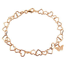 gold plated charm bracelet images 9ct rose gold plated light heart charm bracelet with butterfly charm jpg