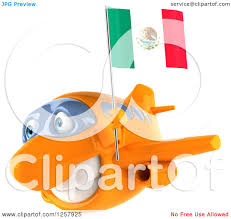 clipart of a 3d orange airplane flying with a mexican flag