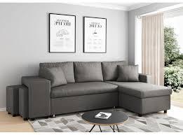 canapé et pouf assorti canapé d angle convertible en lit avec poufs oslo gris clair
