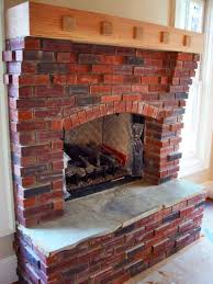 alluring red brick fireplace with homey wooden shelf ideas and