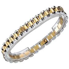 link bracelet charms images Latest rolex white yellow gold plated thin link bracelet latest jpg