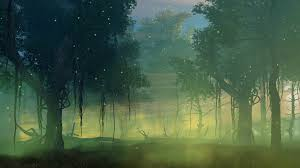 fairytale creepy forest with thick fog and supernatural mystic