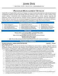 program manager resume program manager resume exle finance and global education