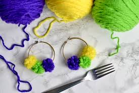mardi gras earrings diy pom pom mardi gras earrings southern flair
