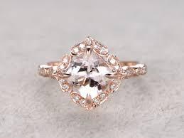 8mm diamond 8mm cushion morganite engagement ring diamond wedding ring 14k