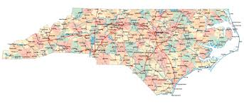 Map Of Usa With Major Cities by Large Administrative Map Of North Carolina State With Roads