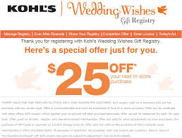 free wedding registry gifts free 25 25 purchase at kohl s when you create a wedding