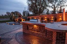 amazing outdoor kitchen concrete countertop led lights