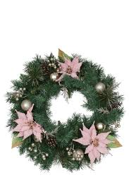 vue luxe 60cm wreath with flowers and pinecones pink myer online