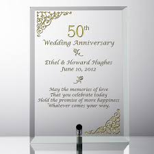50 wedding anniversary gift ideas 50th wedding anniversary glass plaque