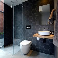 Black Modern Bathroom Black Hex Tiles Modern Bathroom The Block Glasshouse Asbestos