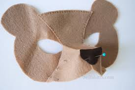 how to make 3d felt mask pin top then side pieces and sew