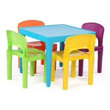 Plastic Tables And Chairs Tot Tutors Playtime 5 Piece Primary Colors Kids Plastic Table And